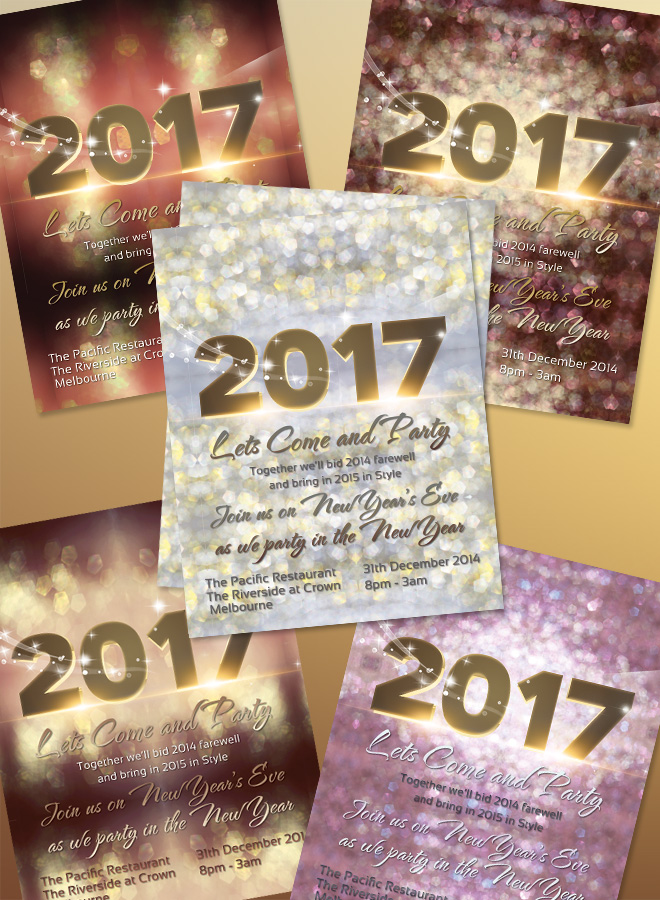 2017 New Years Invitation Flyer Bokeh Texture Light Bokeh