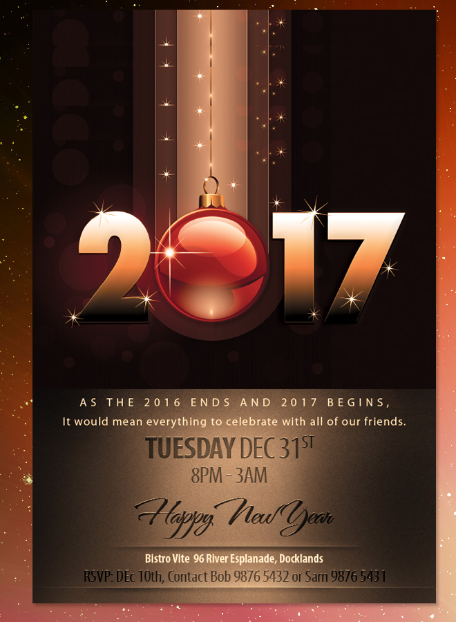2017 New Years Eve Dinner Invitation Brown Theme Flyer Large 2017