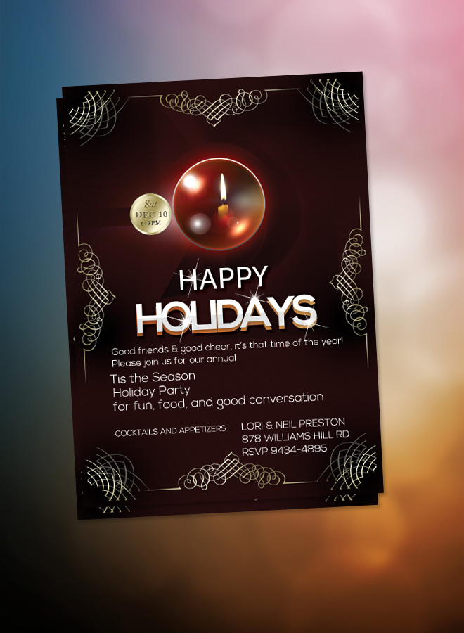 happy holidays flyer christmas dinner invitation elegant christmas