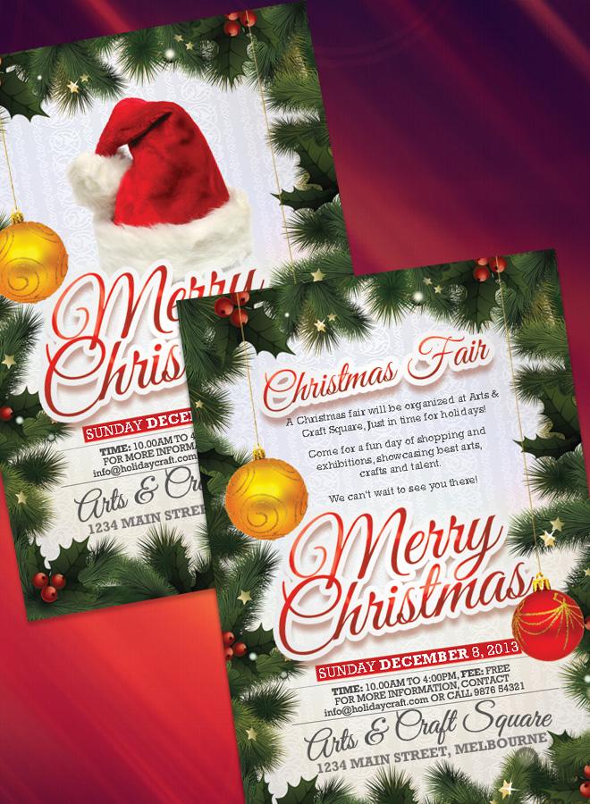 merry christmas design flyer christmas fair flyer