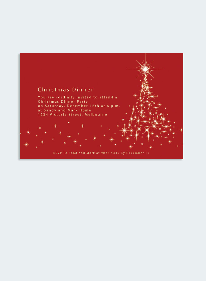 Christmas Red Invitation Card Golden Christmas Tree Golden