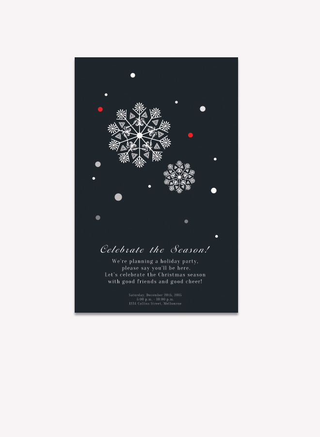 Snowflakes Invitation Card Drawing Snowflake Designs Elegant Dinner ...